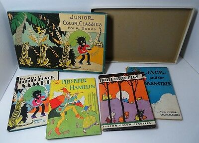 RARE Children's 4 Book Set w Box 1931 Little Black Sambo etc McLoughlin Art Deco
