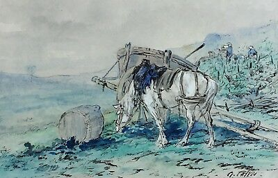 Leon Georges Calves (1848 – 1923) Signed Watercolour, Rest From The Cart, Horse