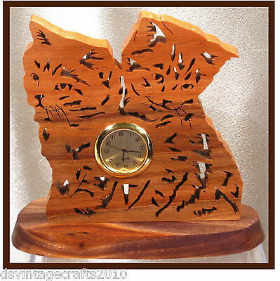 Kittens Table Clock Carving Hand Crafted Walnut Wood