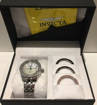 NEW Women's Invicta Wildflower Crystal Mother of Pearl Dial Ladies Watch Set