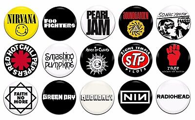 15X GLAM ROCK Bands Artists Various 25mm / 1 Inch D Pin