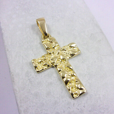 NEW Solid 10K Yellow Gold Mens Nugget Cross Crucifix Pendant Charm, 4.1 grams