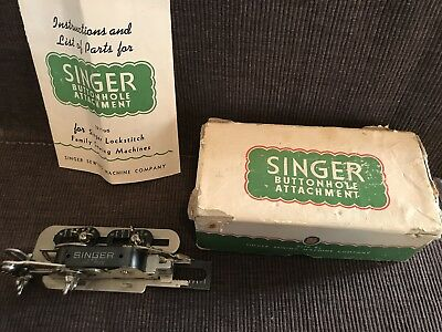 Vintage Singer Button Hole Attachment 121795 With Original Box & Instructions