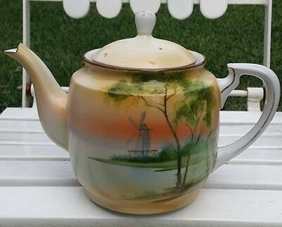 Vintage NIPPON Hand Painted Scenic Porcelain Tea Pot