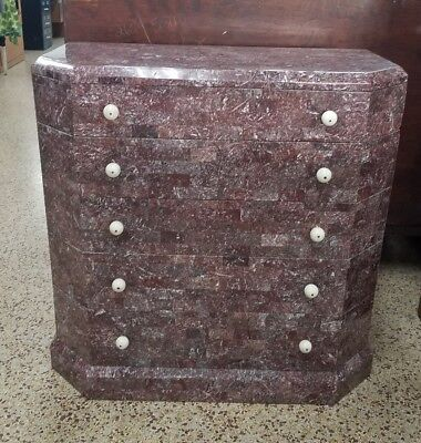 Art Deco Stylized Maitland Smith Lilac Tesselated Stone Chest Of Drawers