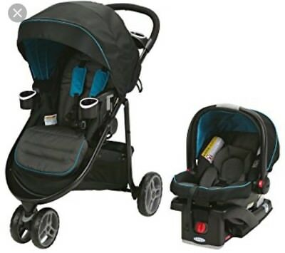 Graco Modes 3 Lite Travel System Stroller + Snugride 35 Car Seat,  Poseidon New!