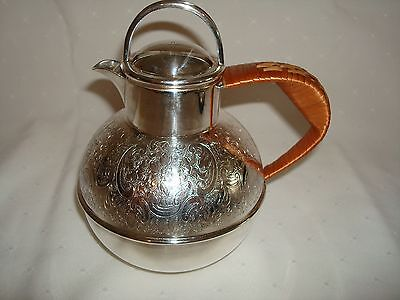 BARKER BROS. EARLY 20th CENTURY ART DECO TEAPOT HOT WATER POT RATTAN HANDLE