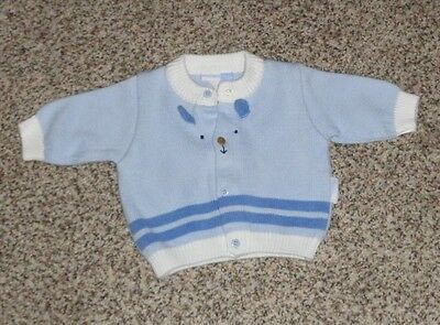 Vitamins Baby Boys Blue White Cardigan Sweater Cute Face Front 0-3 Months EUC