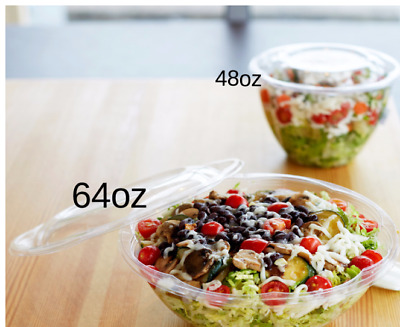 18/24/32/40/48/64 oz Clear Disposable Plastic Salad, Fruits Bowl with Lid (25)