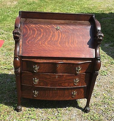 R. J. Horner Drop Front Oak Desk With Griffins