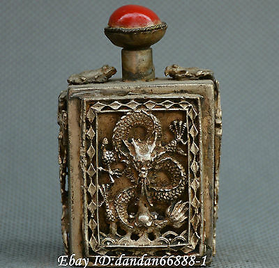Collect China Tibet Buddhism old Miao silver carve dragon phoenix snuff bottle