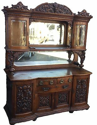 Carved Oak Beveled Curio Top Sideboard With Griffins, R.j. Horner