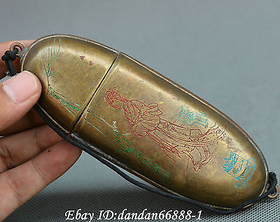 Collect Chinese Tibet Buddhism old bronze carve beautiful woman box Gift box