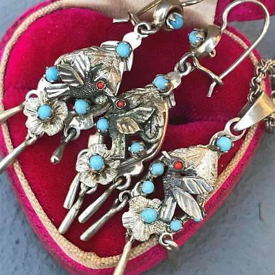 Vintage Mexican Sterling Silver Pajaritos Bird Pendant Necklace Dangle Earrings