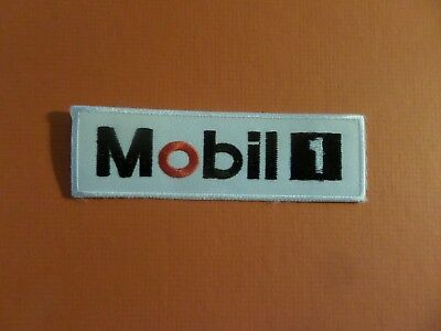 MOBIL OIL blue & white & black Embroidered 4-1/2 x 1-3/8 Iron On Patch