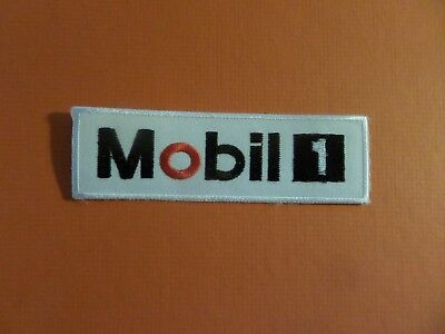 MOBIL OIL red & white & black Embroidered 4-1/2 x 1-3/8 Iron On Patch