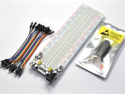 Arduino Bread Board 830 Starter Kit, Atmega328, Wires, Parts, Power Supply #0514