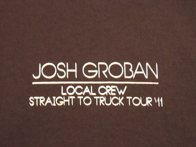 Josh Groban Straight To Truck Tour 2011 Local Crew T Shirt Black XL
