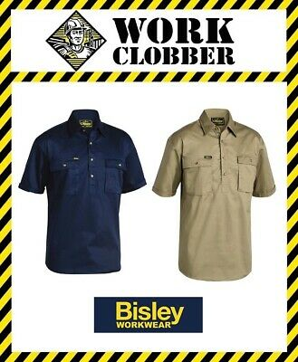 Bisley Short Sleeve Closed Front Drill Shirt BSC1433 NEW WITH TAGS!