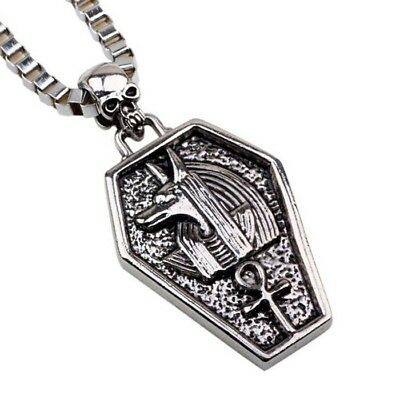 Men's Stainless Steel Ancient Egyptian Gods Skull Pendant Chain Necklace