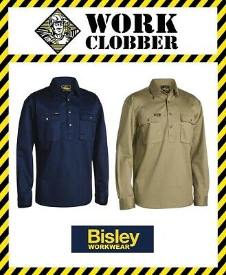 Bisley Long Sleeve Closed Front Drill Shirt BSC6433 NEW WITH TAGS!