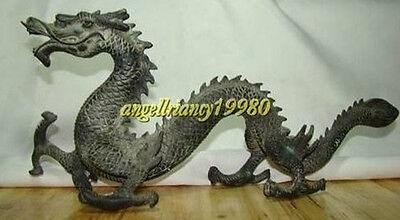 Rare Valuable Chinese Bronze Carved Lucky Dragon Statue 31cm