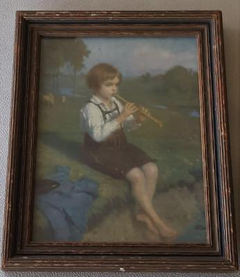 Wonderful Vintage Glücklich Artwork Print - Framed  - Shepherd Song - VERY OLD