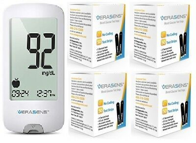 VERASENS GLUCOSE Meter & 200 Test strips. FAST FREE SHIPPING.