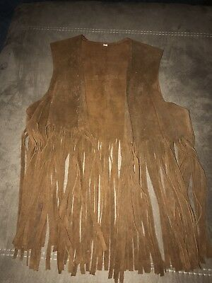 Vintage Genuine Leather Suede Vest Brown Fringe Medium Hippy West