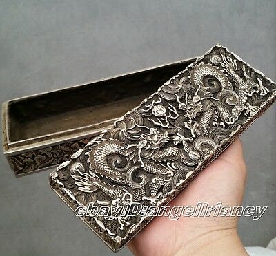 China Qing dynasty Handwork Miao silver dragon statue Bank money, jewelry Box