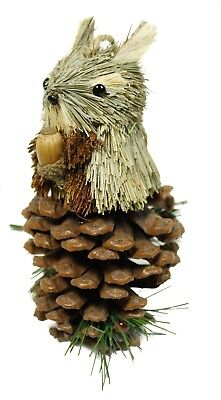Vintage Pinecone Straw Chipmunk Christmas Ornament Holiday Decoration