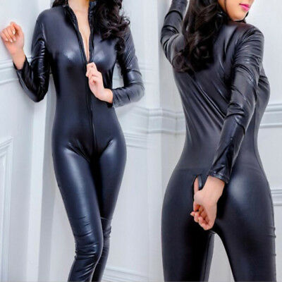 Women Lingerie Leather Wet Cosplay CATSUIT CLUBWEAR Bodysuit Jumpsuit PVC