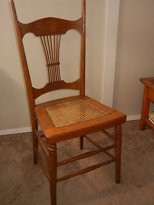 One Oak Chair With  Cane Seat