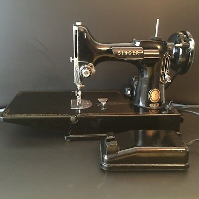Vintage 1950's Singer Featherwieght Portable Electric Sewing Machine 221 Antique