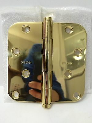 Baldwin Door Hinges One Pair 1140.030 Bright Polished Brass 4x4 NEW