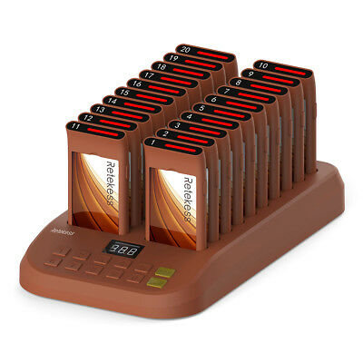 Wireless Restaurant Calling Pager Paging Queuing System 1*Transmitter+20*Pagers