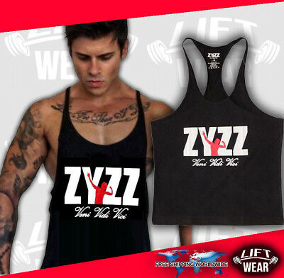 f60ebd8b Zyzz gym tank men singlet muscle stringer top shirt bodybuilding tops golds