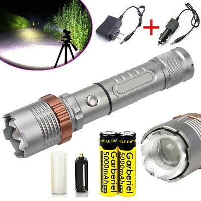 Tactical Police T6 90000LM LED Zoomable Flashlight Torch Rechargeable Lamp USA