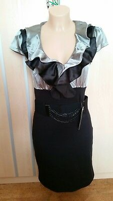 62f6b5a95ba Laeticia Dreams Damen Abendkleid Business Kleid Kurzarm Volantkleid S Neu