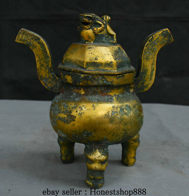 """10"""" Antique Chinese Bronze Ware Gilt Palace Foo Dog Lion 3 Foot Incense Burners"""