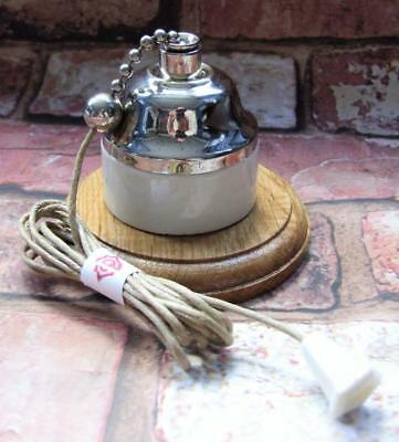 Restored Vintage Period Ceramic NIckel Domed Ceiling Pull Switch 1 Way CRABTREE