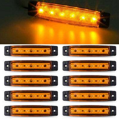 Universal 10Pcs Side Marker Light Trailer truck 2 Diode Clearance LED Amber Lamp