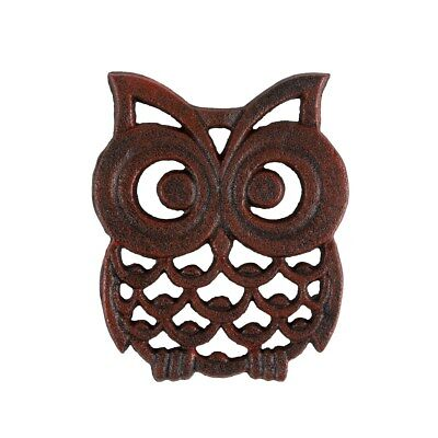 Small Black & Red Rustic Cast Iron Owl Shaped Trivet Home Kitchen Accessory Gift