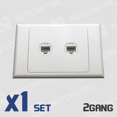 Wall Plate and Cat6 Jack Combo - 2 Gang/ Port Wall plate with 2 Cat6 RJ45 SET