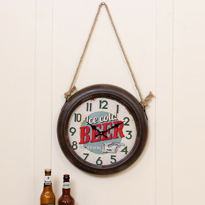 Retro American Style Distressed Shabby Chic Design Wall Clock Gift For Him