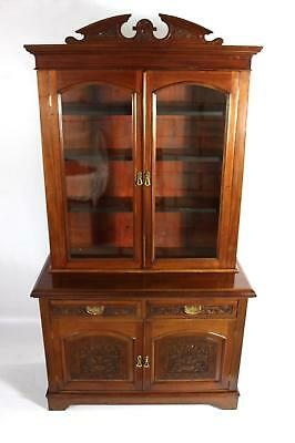 Antique Walnut Mahogany Glazed Bookcase or Display Cabinet Dresser Cupboard