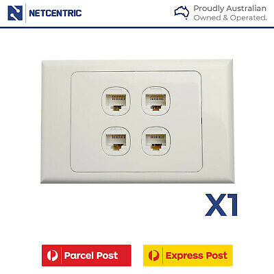 Wall Plate and Cat6 Jack Combo - 4 Gang/ Port Wall plate with 4 Cat6 RJ45 SET