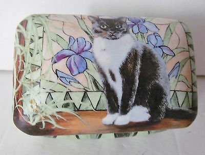 PERSIS CLAYTON WEIRS Wild Wings Cat Ceramic Hinged Storage Jewelry Trinket Box