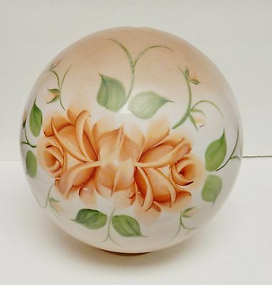 """Victorian Floral Lamp Shade Globe Ball Painted Frosted Large 9""""Wx9.75""""T VINTAGE"""