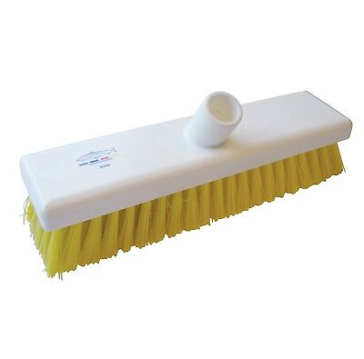 "Yellow 12"" Deck Scrub Brush B770 Resin Set 300mm Stiff Hygiene Salmon Hillbrush"
